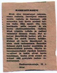 Paulin 1. julkaistu kirjoitus 13 vuotiaana Kuluttaja-lehdessä