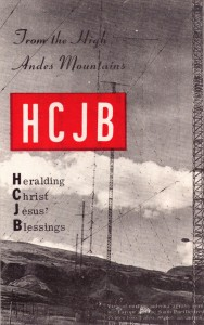 1963 quitolainen radioasema lähetti kortin ja bambusta tehdyn huulisoittimen