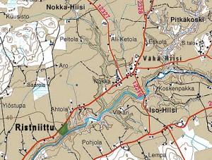 Vahteran koti oli 1 km kartan kohdasta Nokka